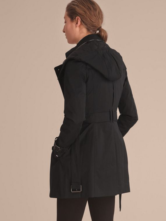Hooded Trench Coat with Warmer in Black - cell image 2
