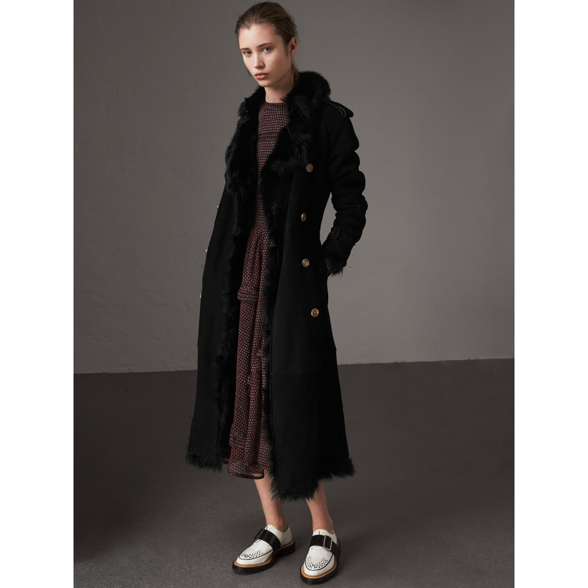 Shearling Trench Coat in Black - Women | Burberry - gallery image 7