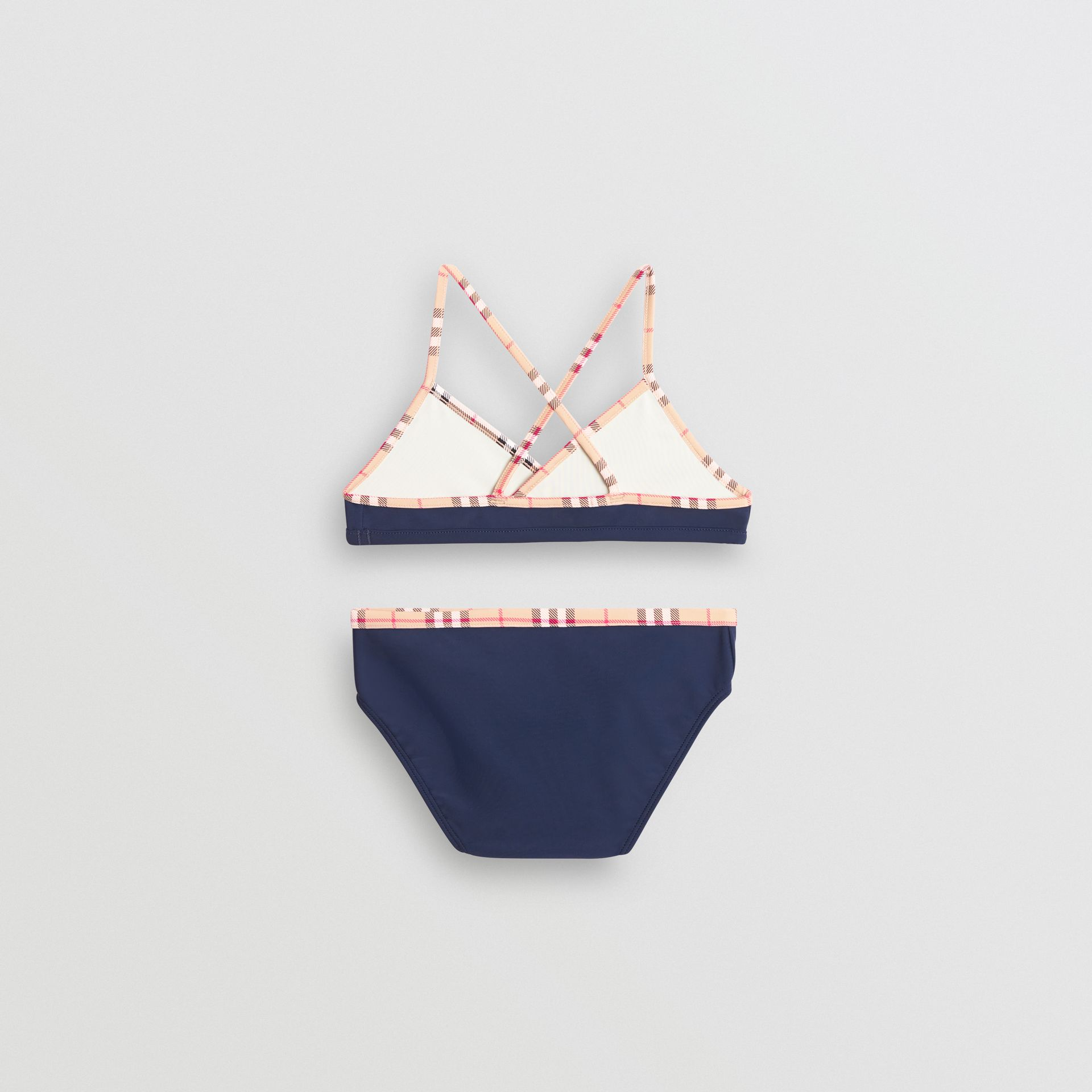 Check Trim Bikini in Navy - Girl | Burberry - gallery image 2