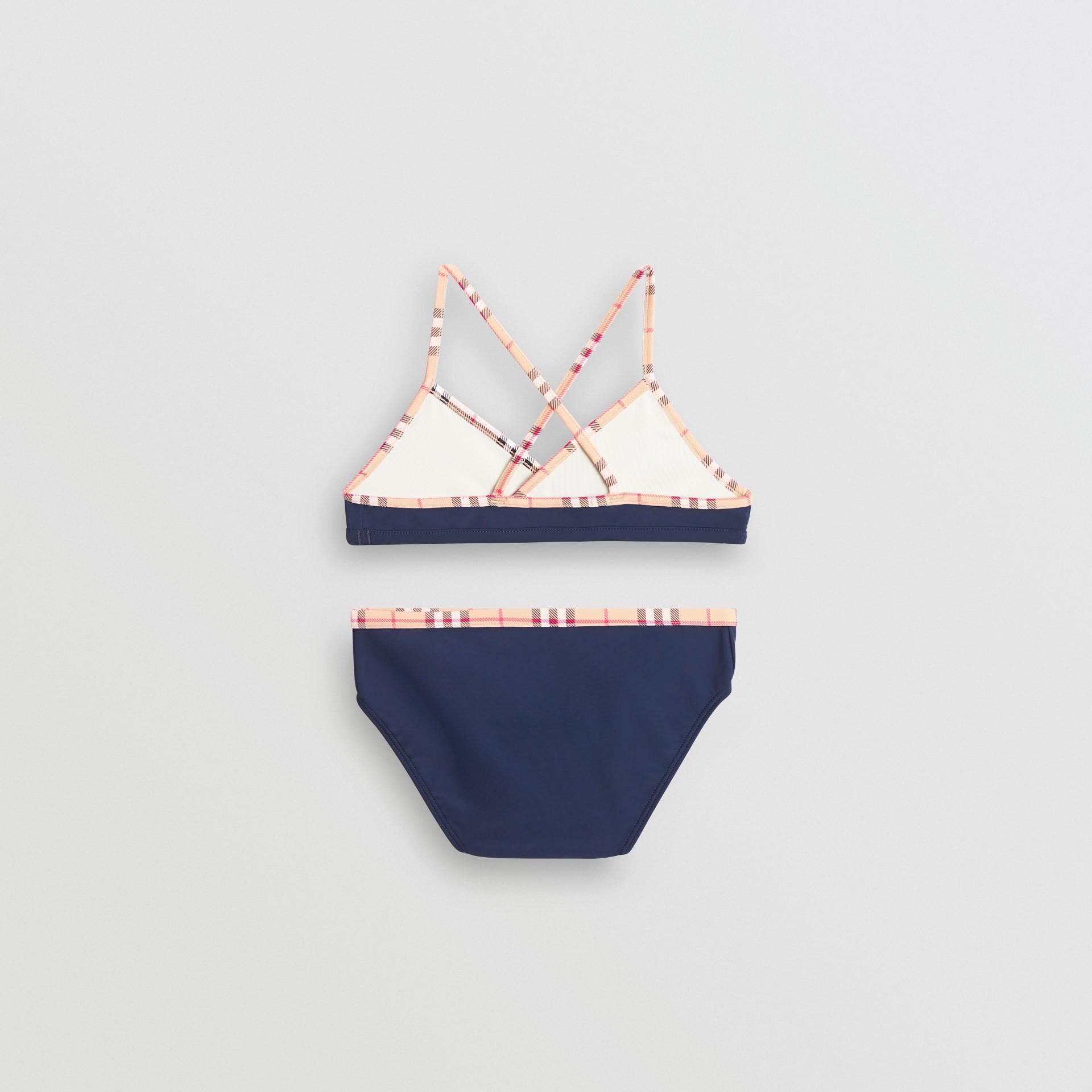 Check Trim Bikini in Navy - Girl | Burberry United Kingdom - gallery image 2