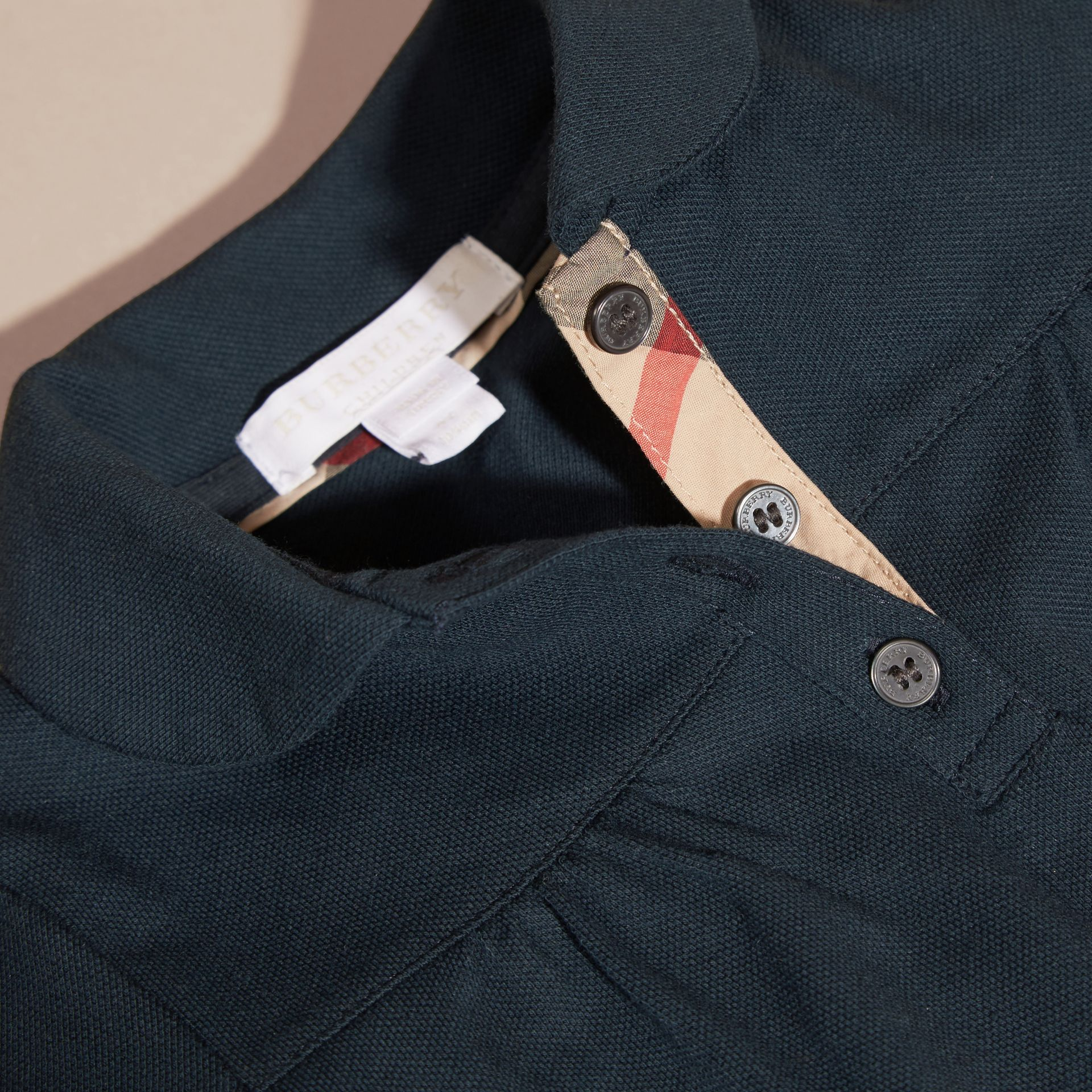 Navy Ruched Detail Stretch Cotton Polo Shirt Navy - gallery image 2
