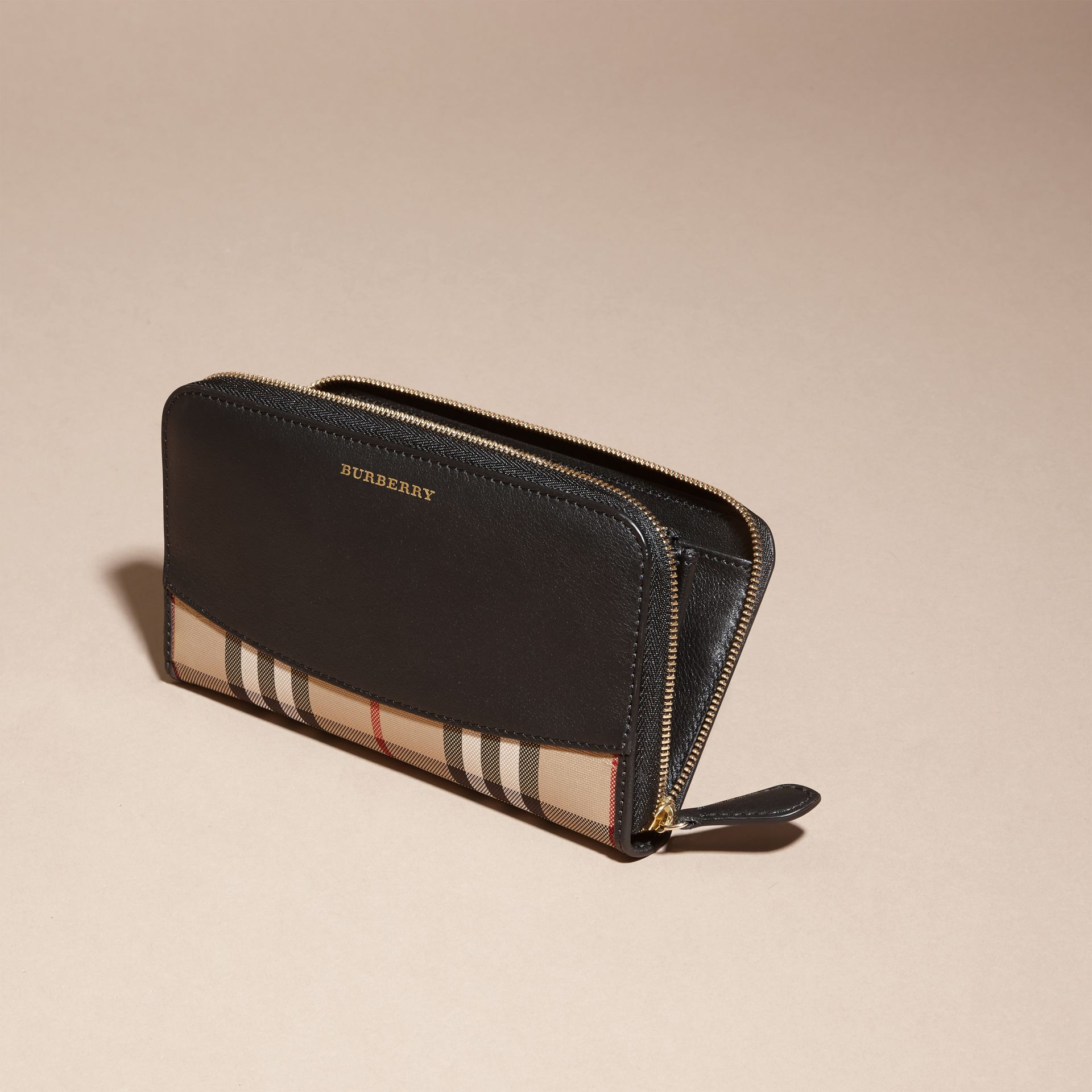 Black Horseferry Check and Leather Ziparound Wallet Black - gallery image 3