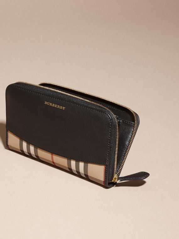 Horseferry Check and Leather Ziparound Wallet in Black - Women | Burberry Hong Kong - cell image 2