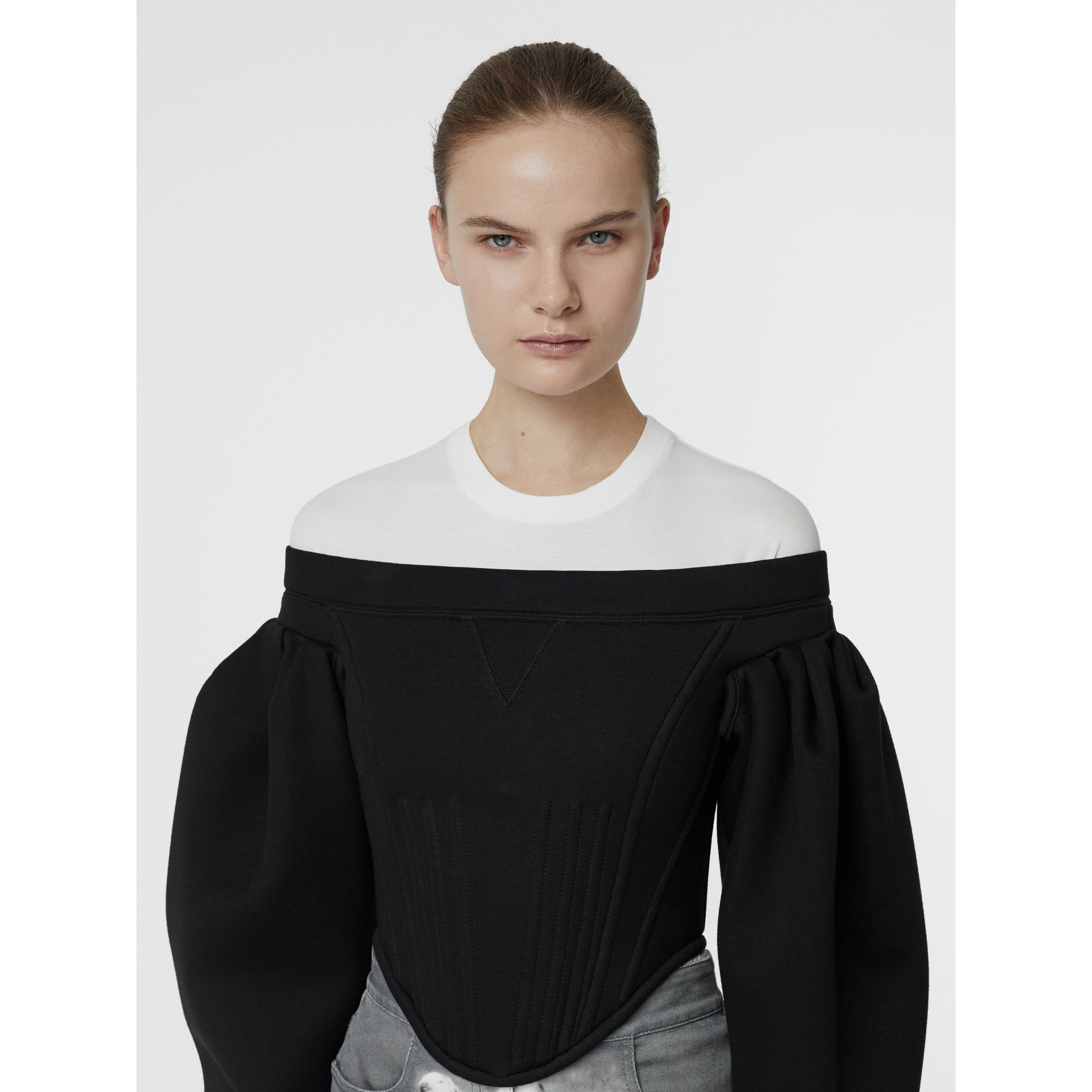 Off-the-shoulder Neoprene Corset Top in Black - Women | Burberry - gallery image 5