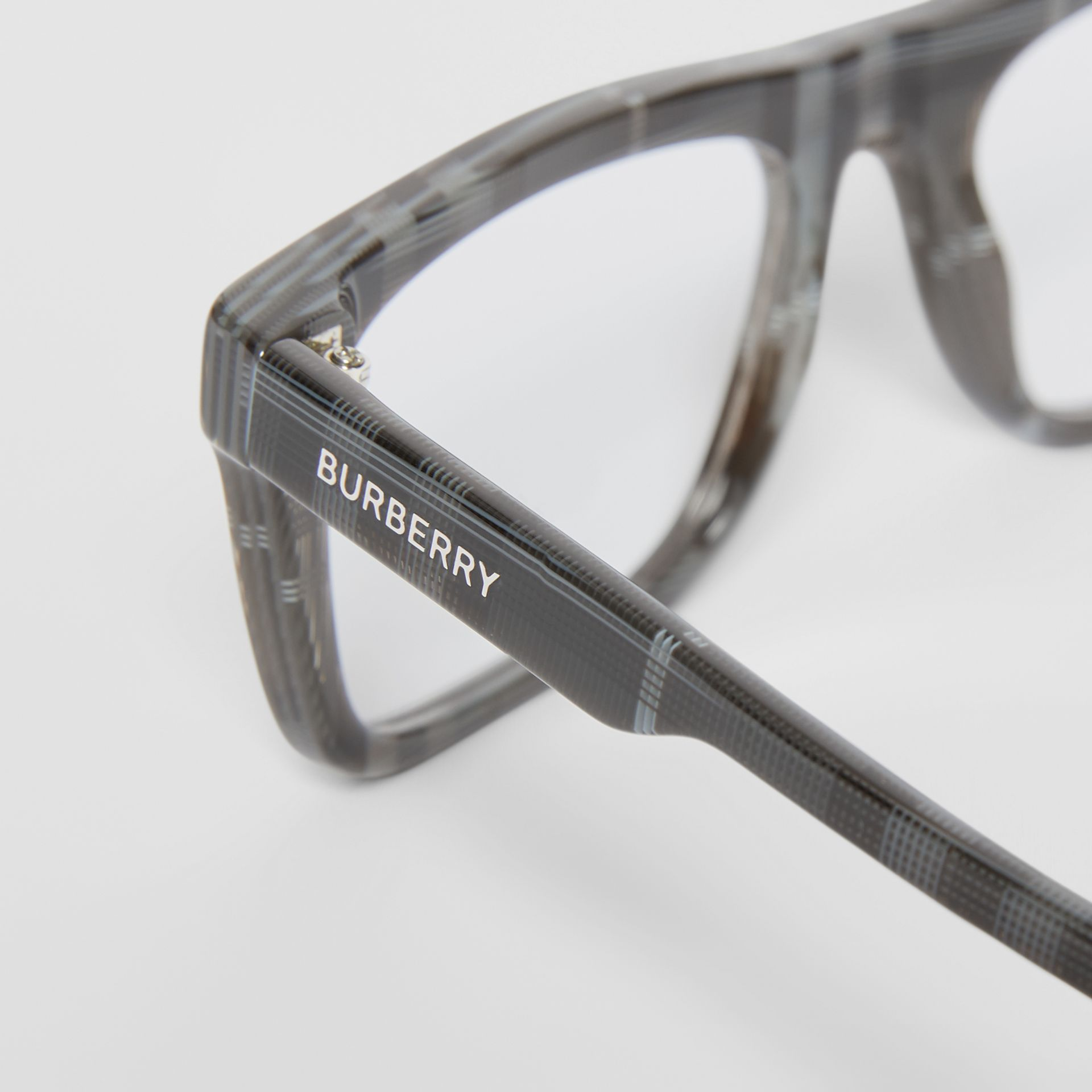 Vintage Check Rectangular Optical Frames in Charcoal Black - Men | Burberry Canada - gallery image 1