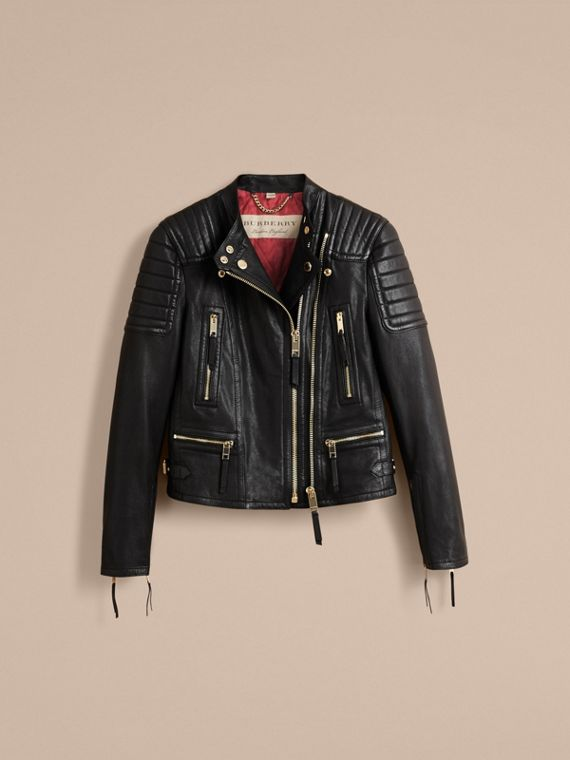 Quilted Panel Lambskin Biker Jacket - cell image 3