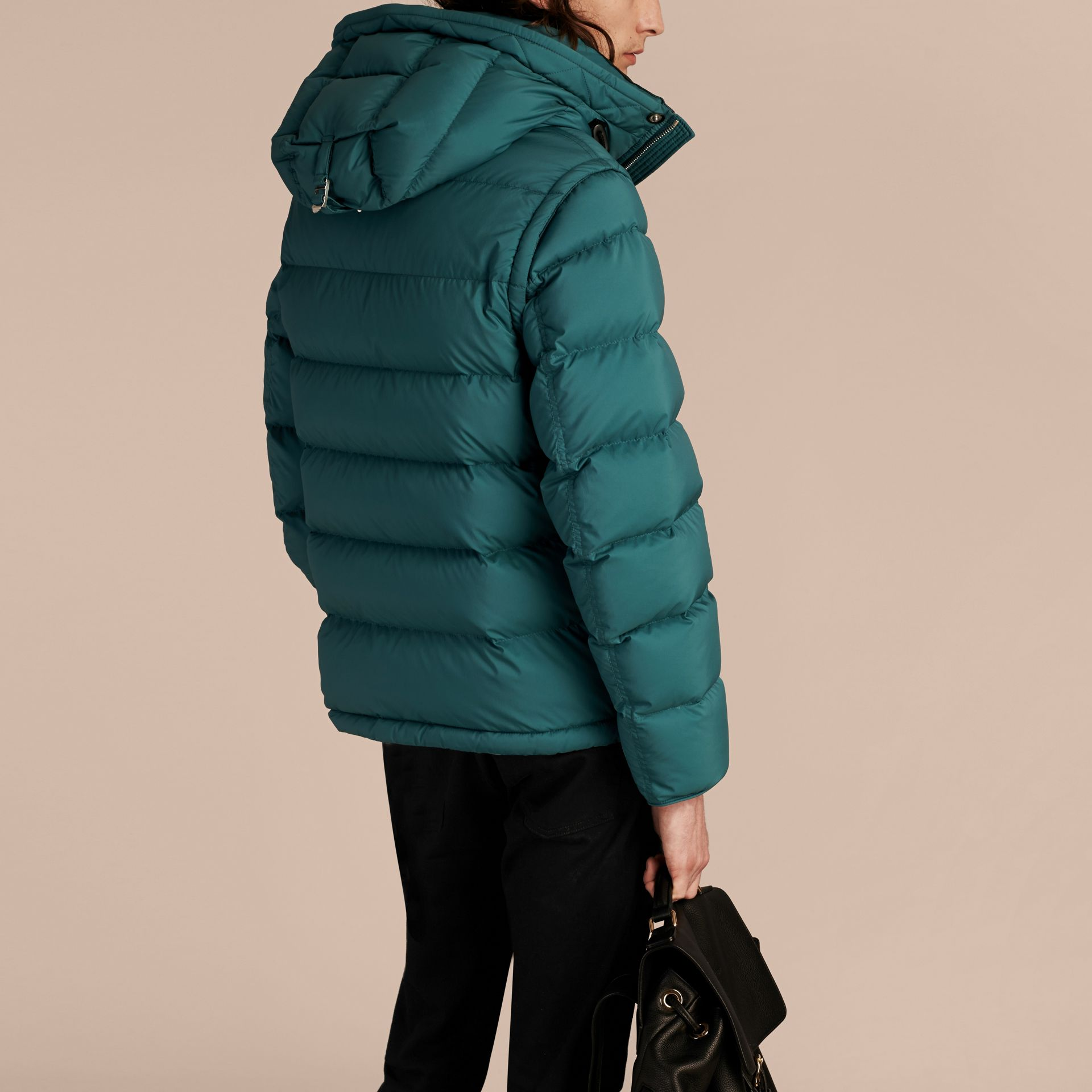 Down-filled Hooded Jacket with Detachable Sleeves in Dusty Teal - gallery image 3