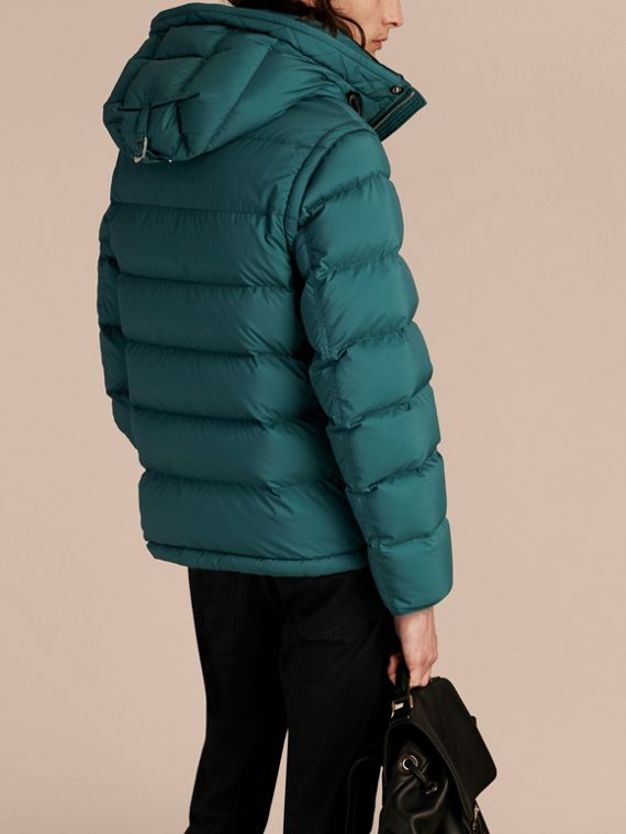 Down-filled Hooded Jacket with Detachable Sleeves in Dusty Teal - cell image 2