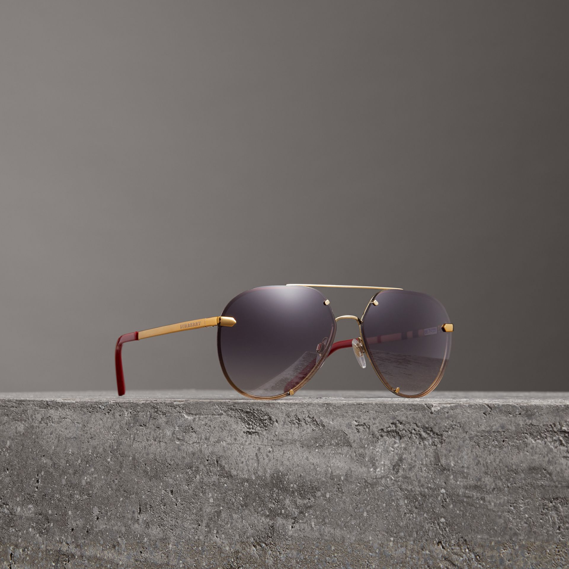 Check Detail Pilot Sunglasses in Purple - Women | Burberry - gallery image 0