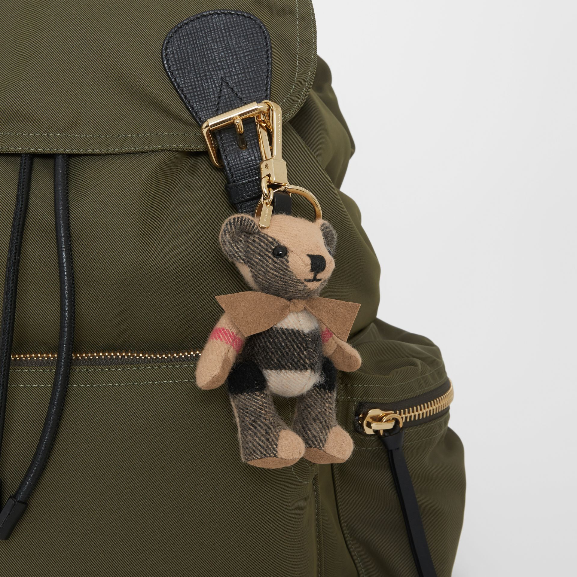 Thomas Bear Charm in Check Cashmere in Camel | Burberry - gallery image 4