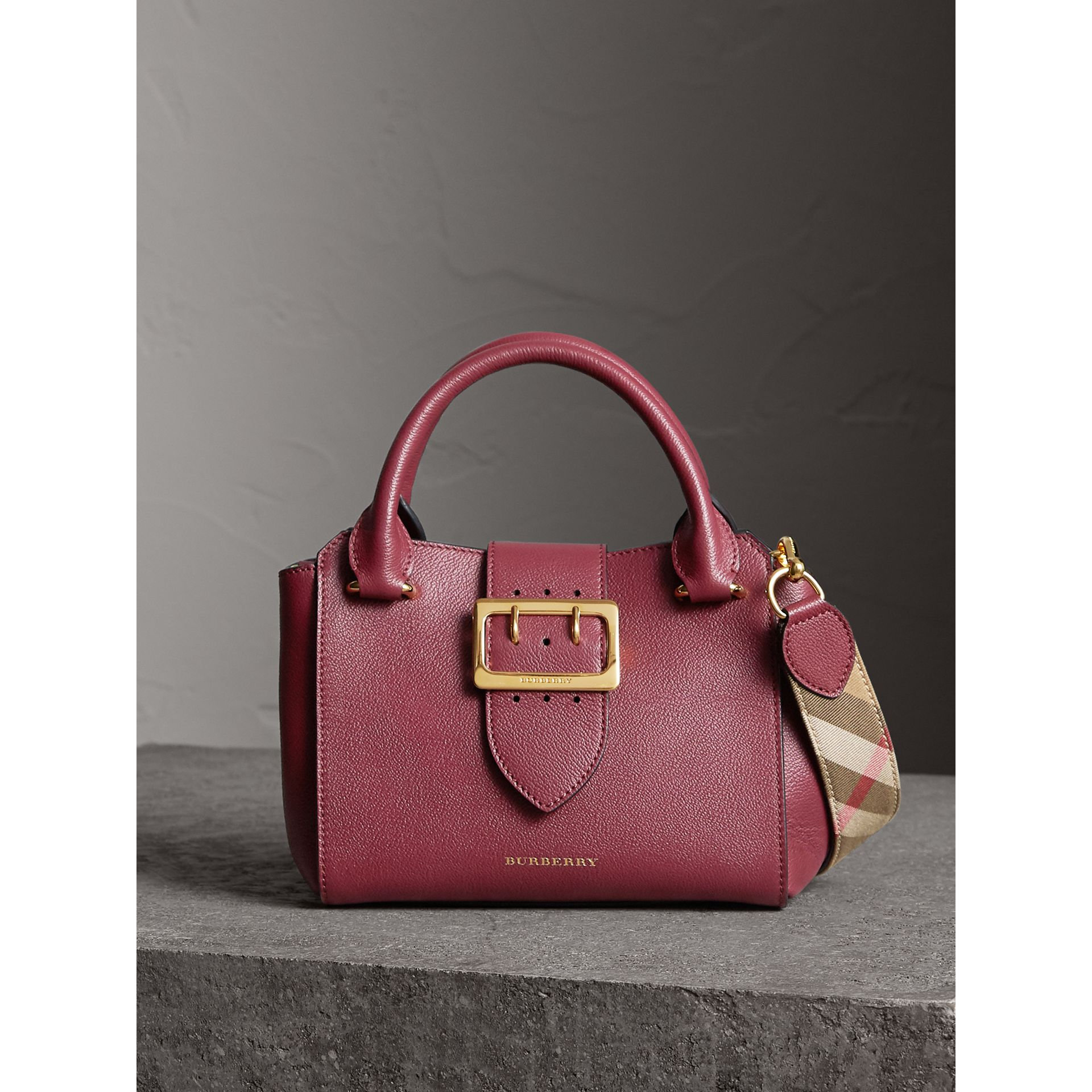 The Small Buckle Tote in Grainy Leather in Dark Plum - Women | Burberry United Kingdom - gallery image 0