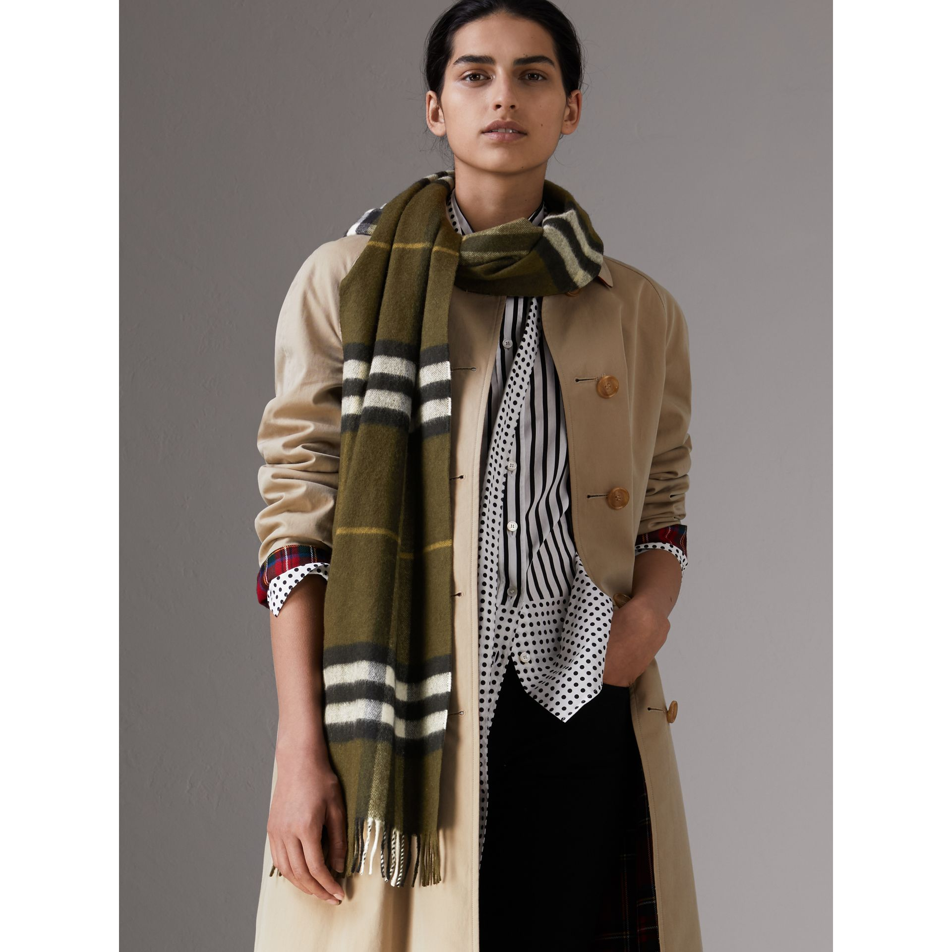 The Classic Check Cashmere Scarf in Olive Green | Burberry - gallery image 2