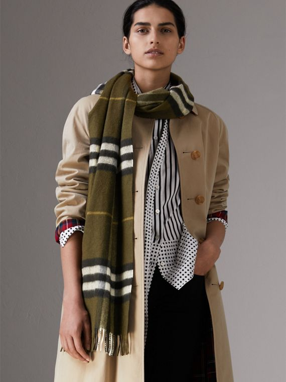 The Classic Check Cashmere Scarf in Olive Green | Burberry - cell image 2