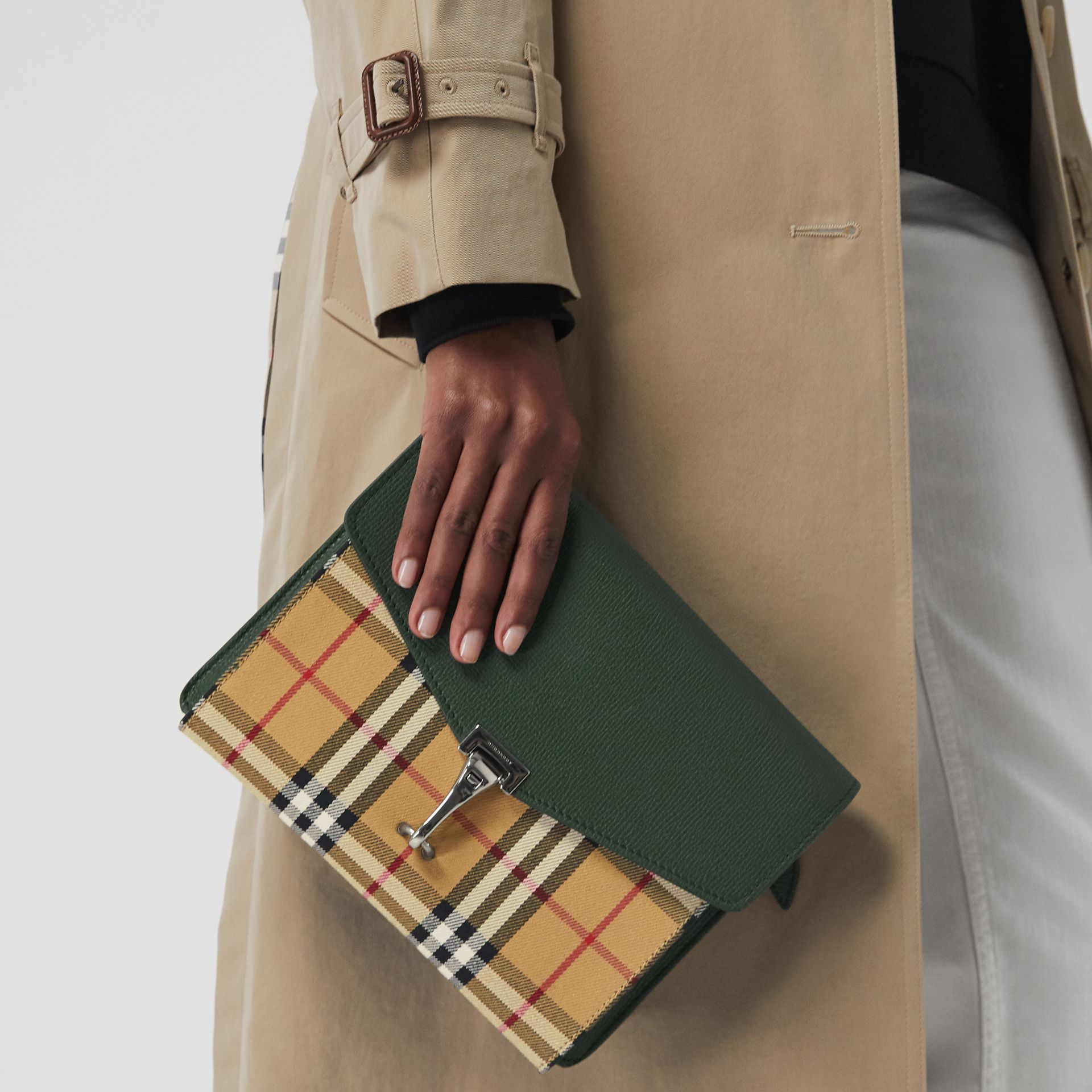 Small Vintage Check and Leather Crossbody Bag in Green - Women | Burberry Canada - gallery image 3