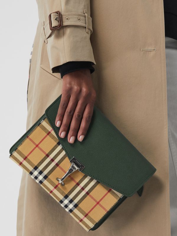 Small Vintage Check and Leather Crossbody Bag in Green - Women | Burberry United States - cell image 3