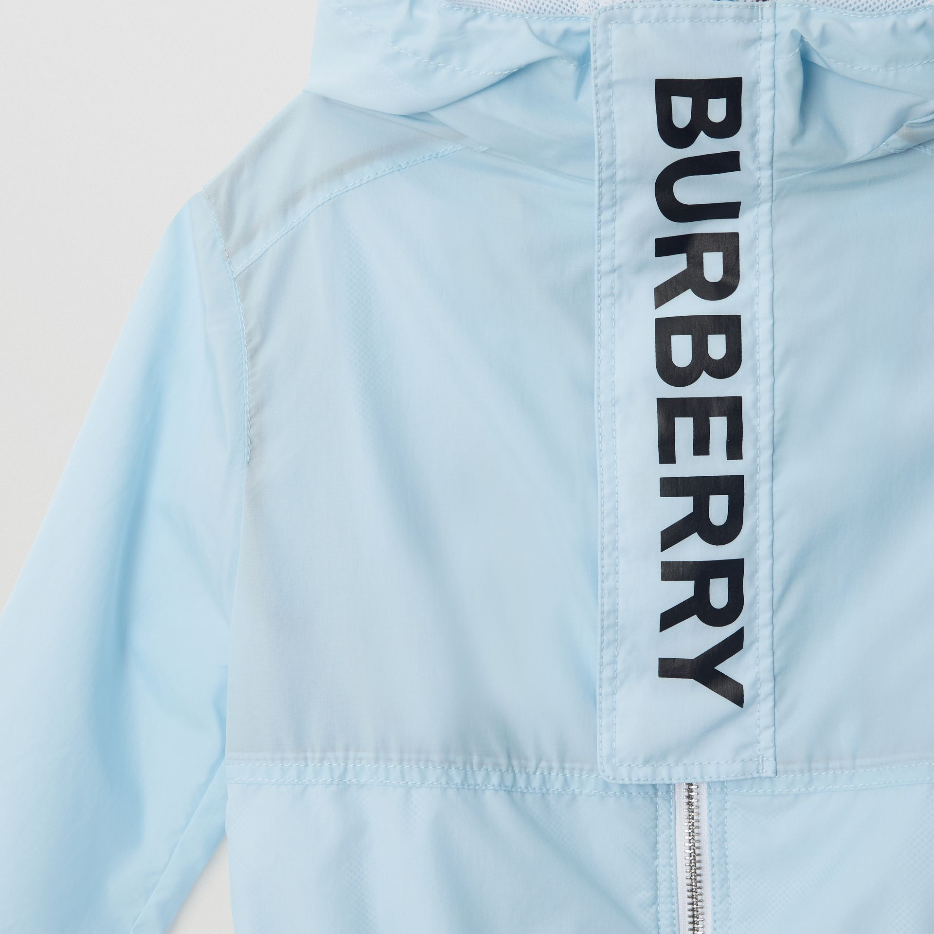 Logo Print Lightweight Hooded Jacket in Light Blue | Burberry - gallery image 5