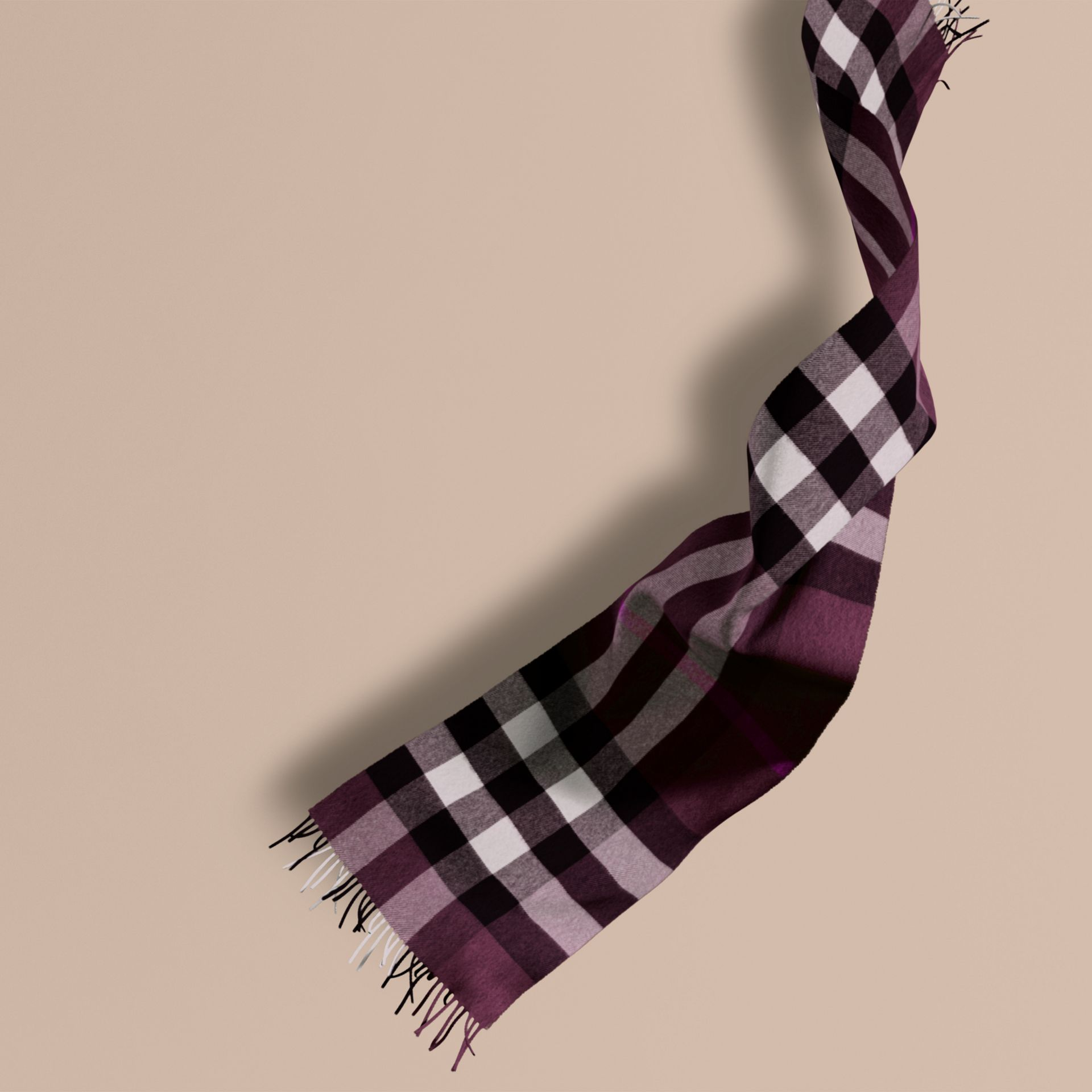 The Large Classic Cashmere Scarf in Check Aubergine - gallery image 1