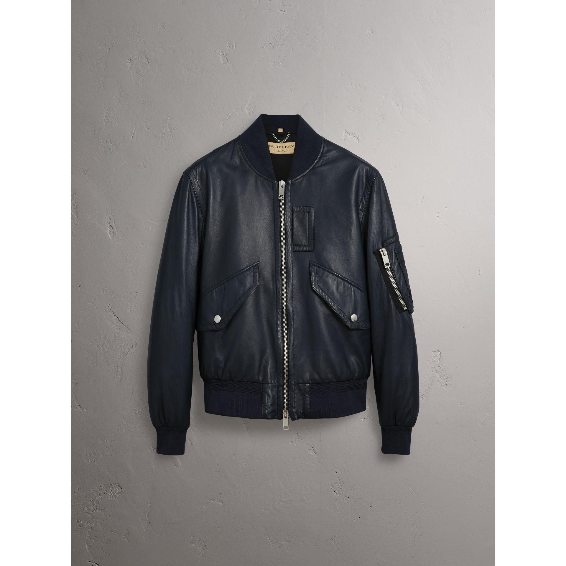 Lambskin Bomber Jacket in Navy - Men | Burberry - gallery image 3