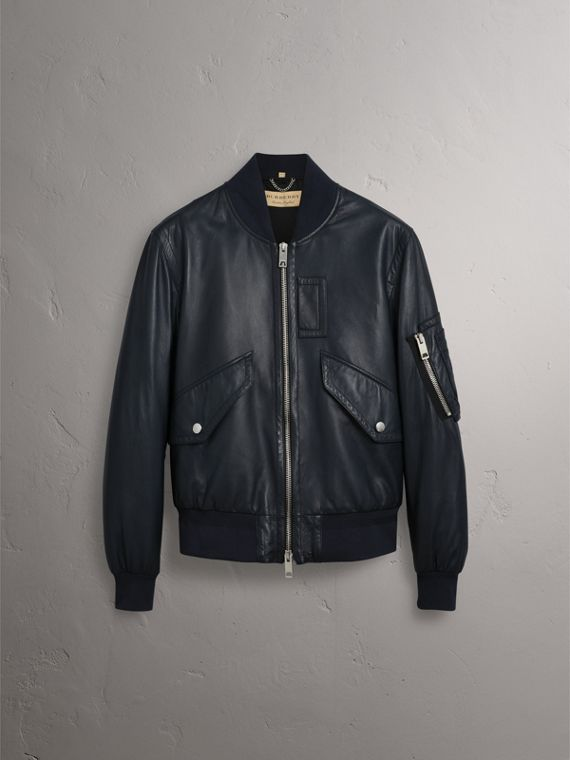 Lambskin Bomber Jacket in Navy - Men | Burberry United Kingdom - cell image 3