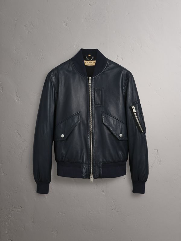 Lambskin Bomber Jacket in Navy - Men | Burberry Canada - cell image 3