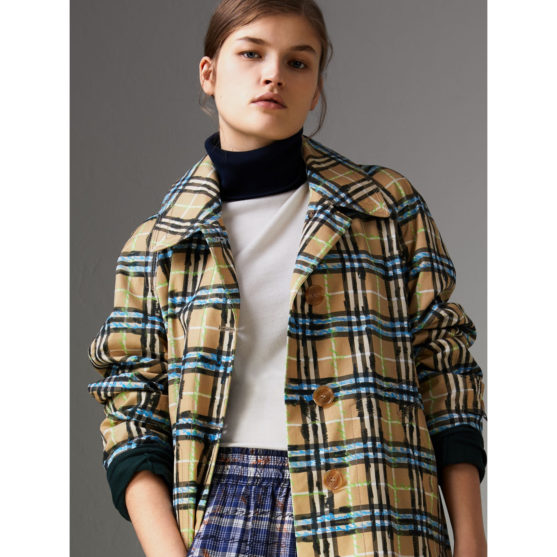 Scribble Check Cotton Gabardine Car Coat in Bright Blue - Women | Burberry Canada - gallery image 1