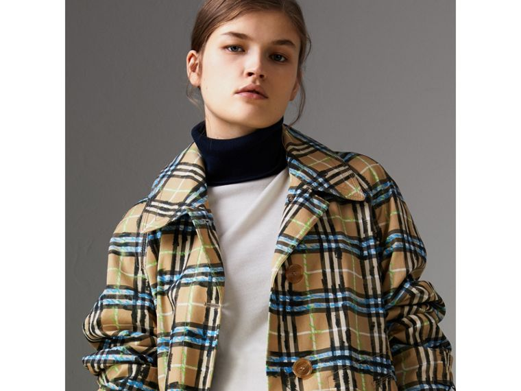 Scribble Check Cotton Gabardine Car Coat in Bright Blue - Women | Burberry - cell image 1