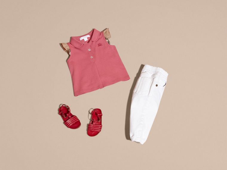 Stretch Cotton Polo Shirt with Check Sleeves Pink Azalea - cell image 4