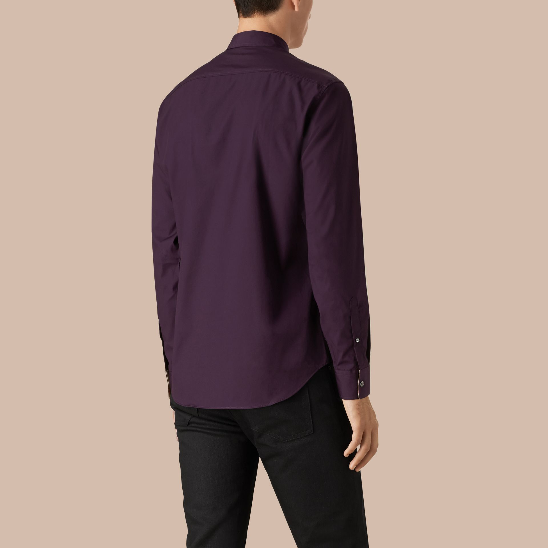 Check Detail Stretch Cotton Poplin Shirt in Dark Purple - gallery image 3