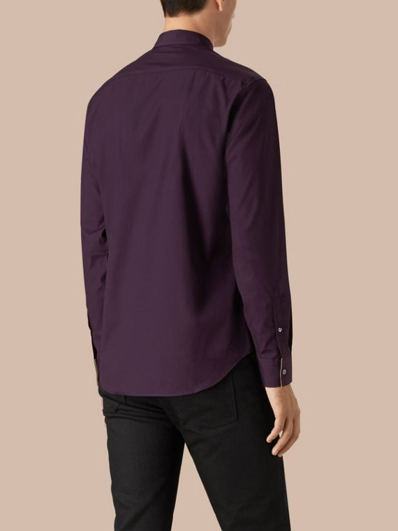 Check Detail Stretch Cotton Poplin Shirt in Dark Purple - cell image 2