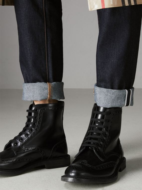 Brogue Detail Polished Leather Boots in Black - Men | Burberry - cell image 2