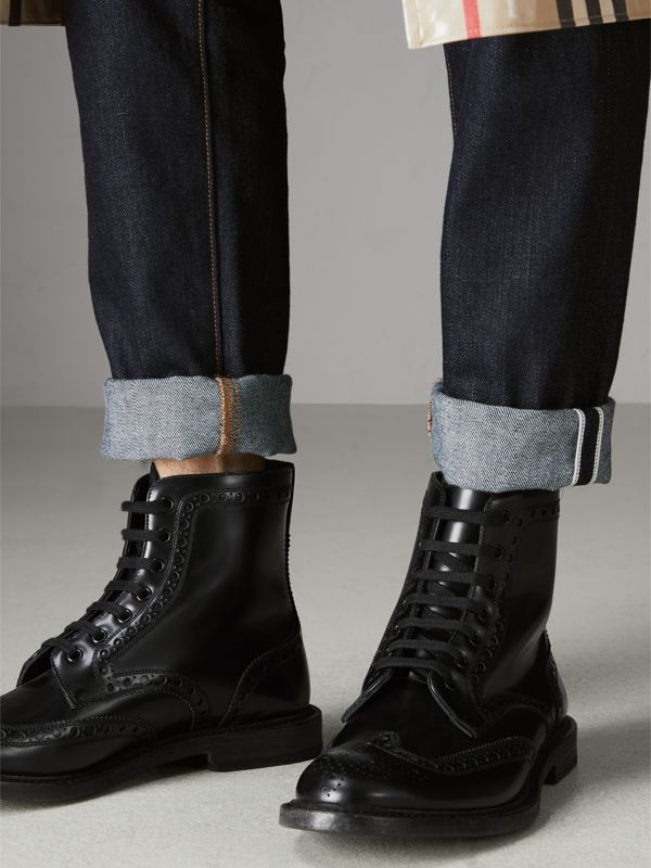 Brogue Detail Polished Leather Boots in Black - Men | Burberry Hong Kong - cell image 2