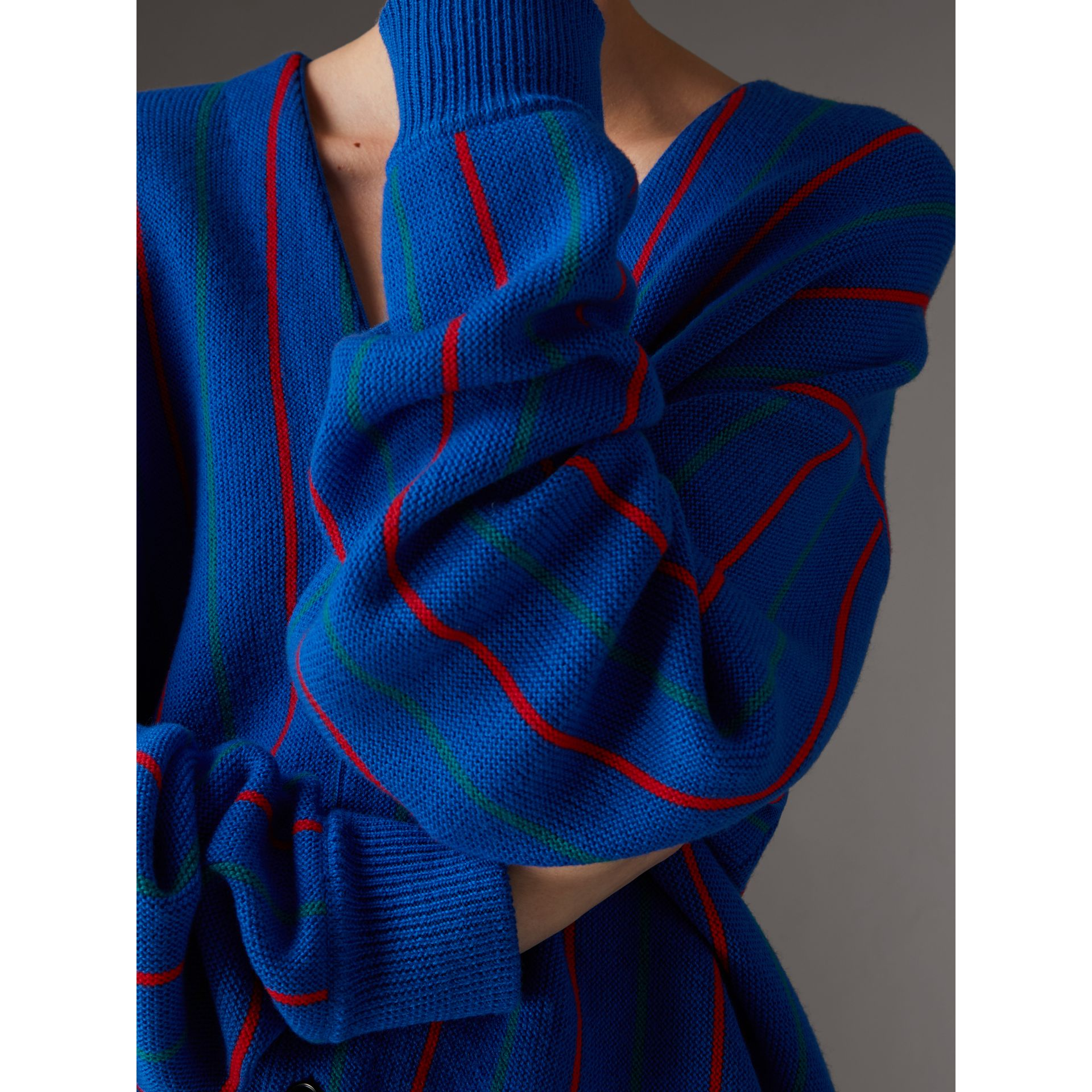 Reissued Striped Wool Cardigan in Royal Blue - Women | Burberry United Kingdom - gallery image 1