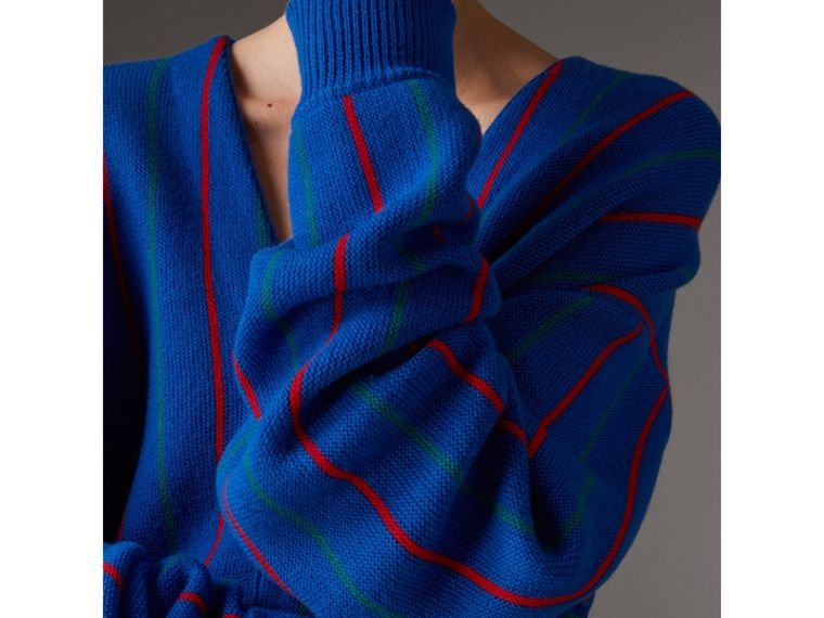 Reissued Striped Wool Cardigan in Royal Blue - Women | Burberry - cell image 1