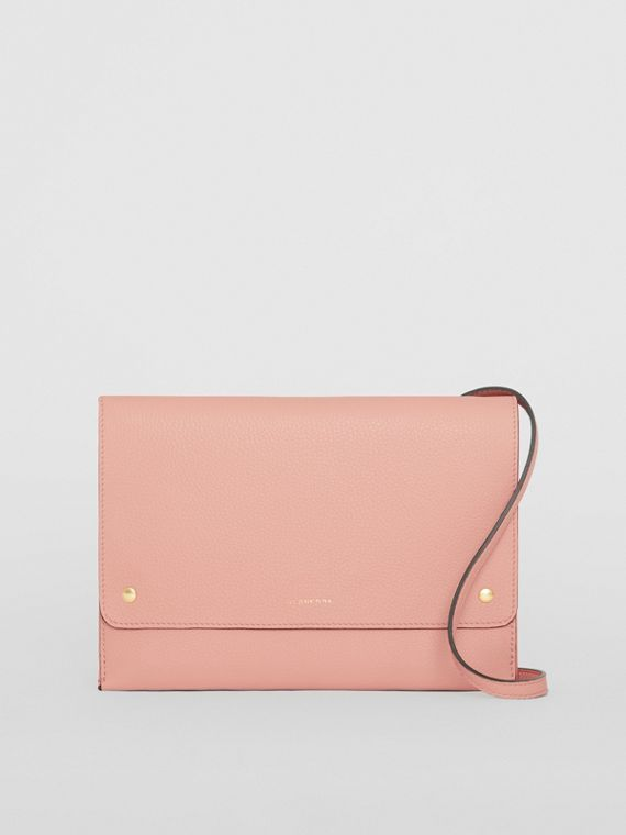 Leather Pouch with Detachable Strap in Ash Rose