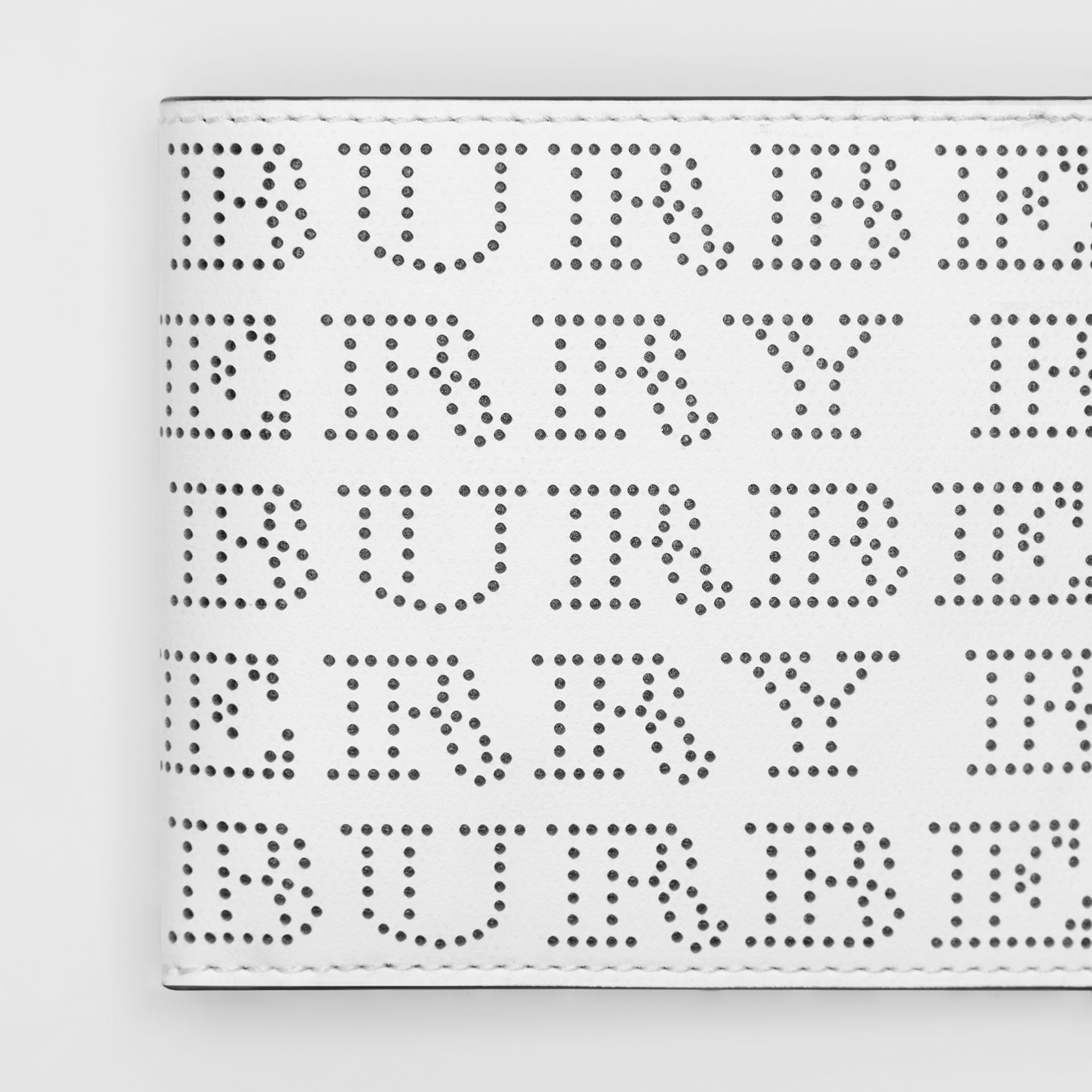 Perforated Logo Leather International Bifold Wallet in Optic White - Men | Burberry United States - gallery image 1