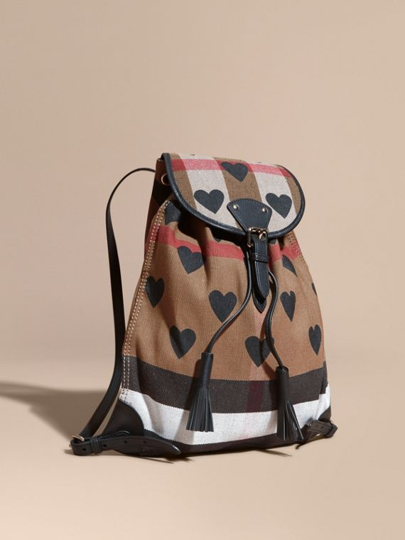 Heart Print Canvas Check Backpack with Leather Trim Black