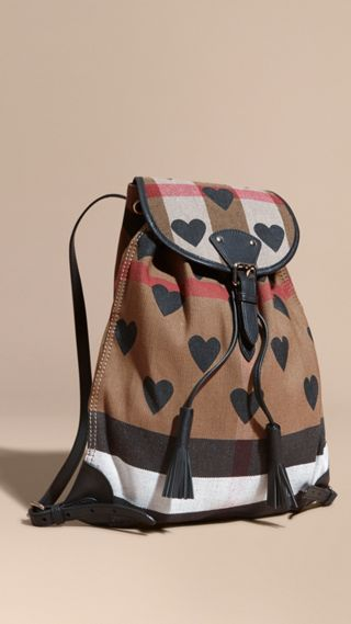 Heart Print Canvas Check Backpack with Leather Trim