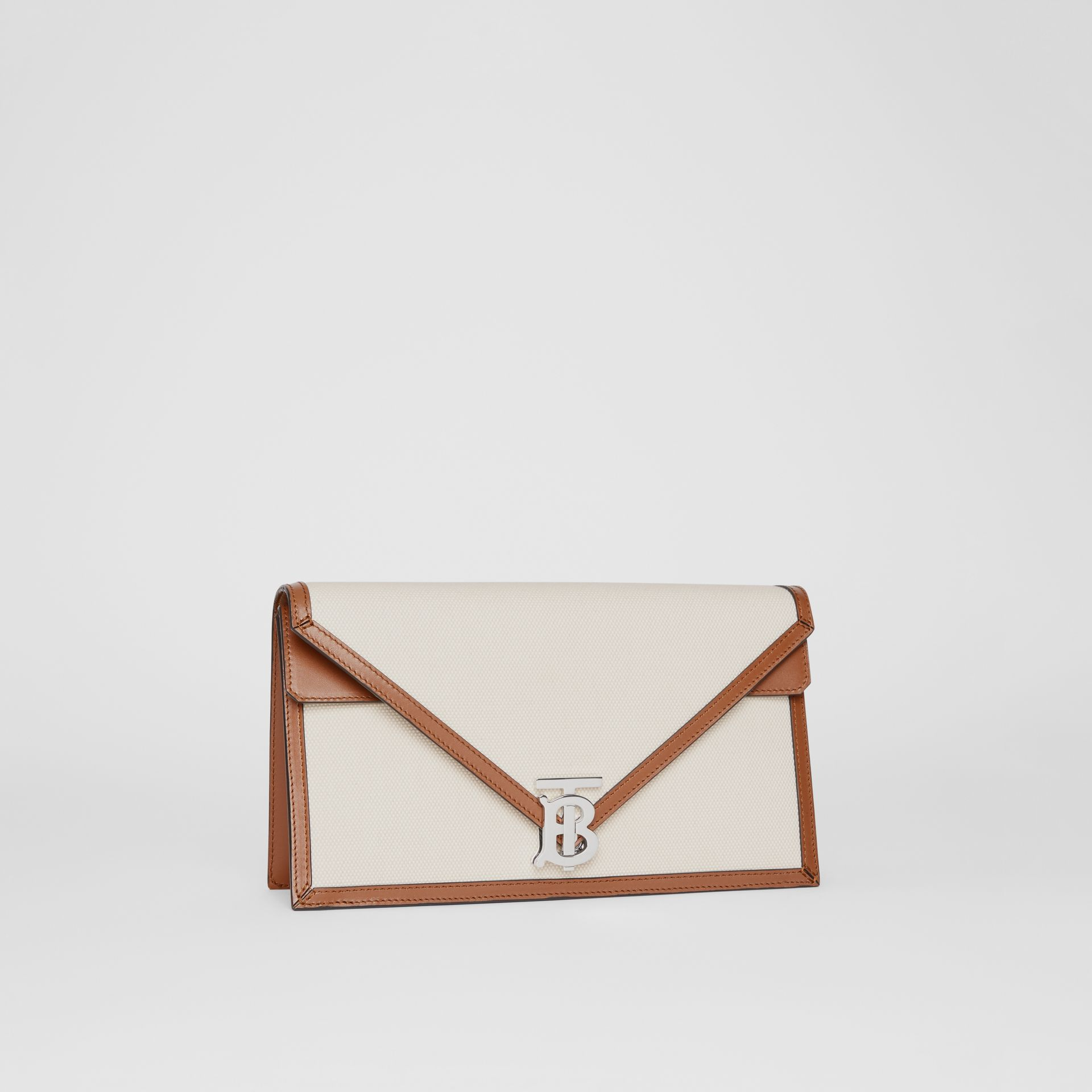 Small Canvas and Leather TB Envelope Clutch in Natural - Women | Burberry - gallery image 5