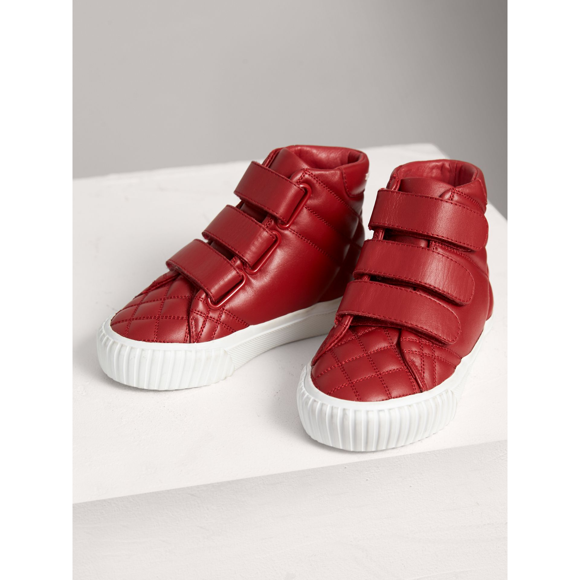 Check-quilted Leather High-top Sneakers in Parade Red | Burberry Canada - gallery image 3