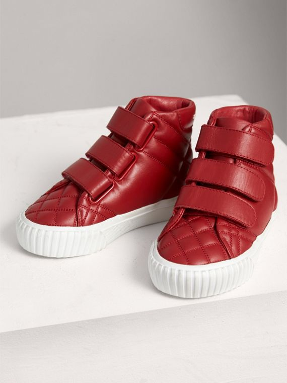 Check-quilted Leather High-top Sneakers in Parade Red | Burberry Canada - cell image 3