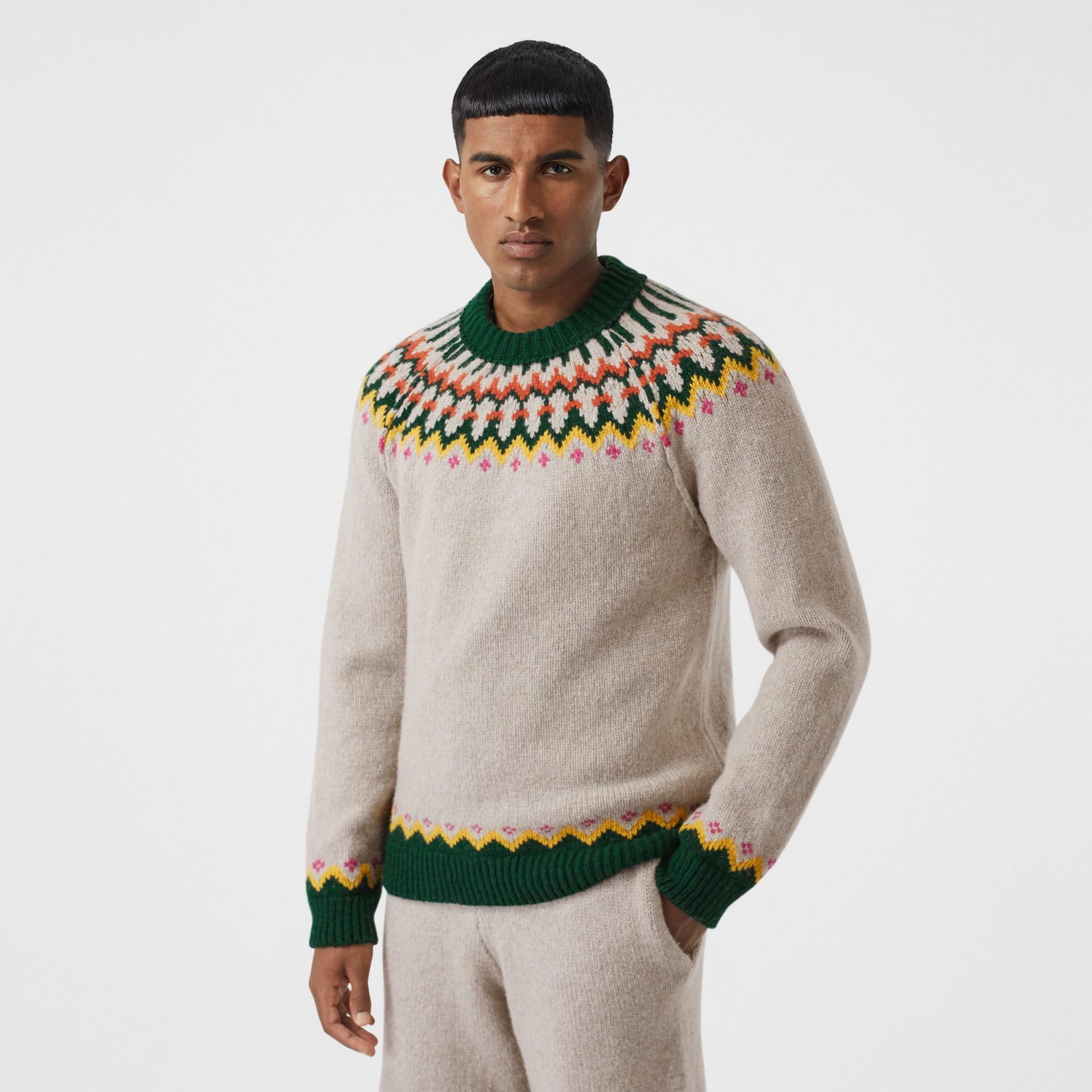 Fair Isle Wool Sweater in Sesame - Men | Burberry - gallery image 0