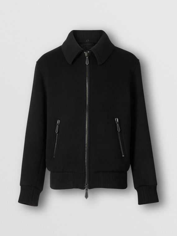 Detachable Knit Collar Wool Cashmere Bomber Jacket in Black