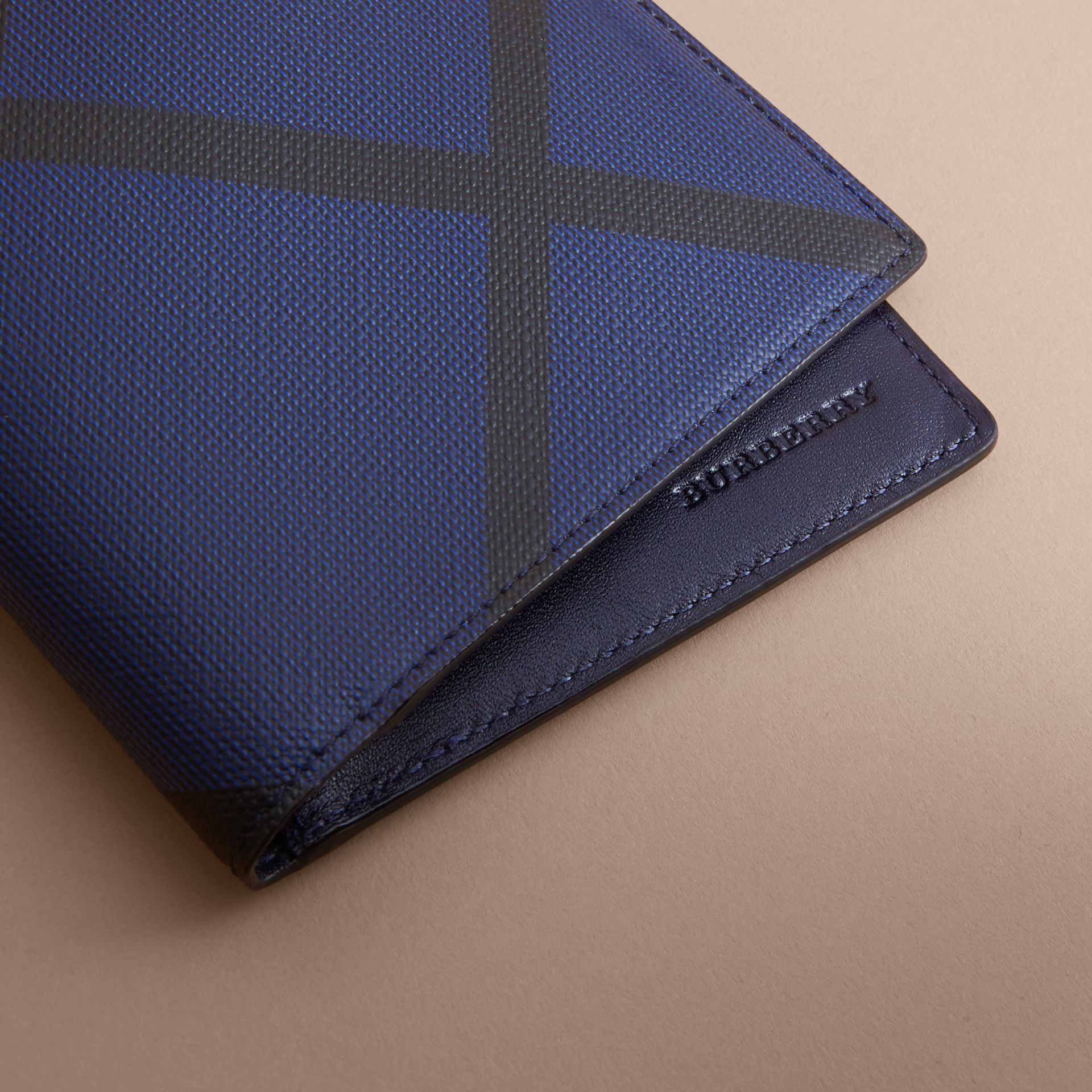 London Check International Bifold Wallet in Bright Lapis - Men | Burberry - gallery image 2
