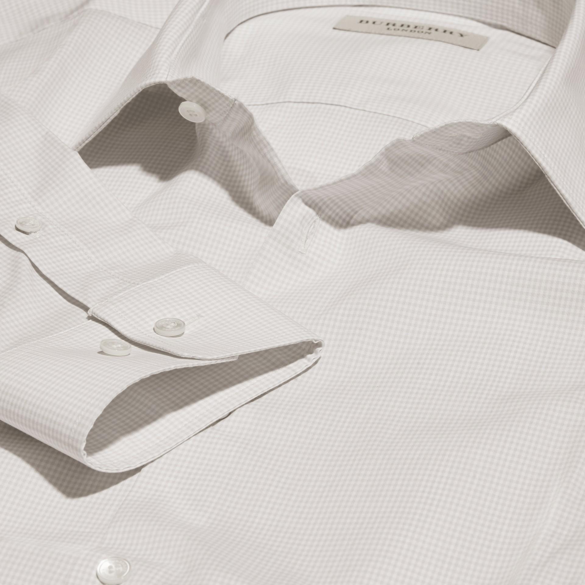 Gris urbain Chemise vichy ajustée en popeline de coton - photo de la galerie 2