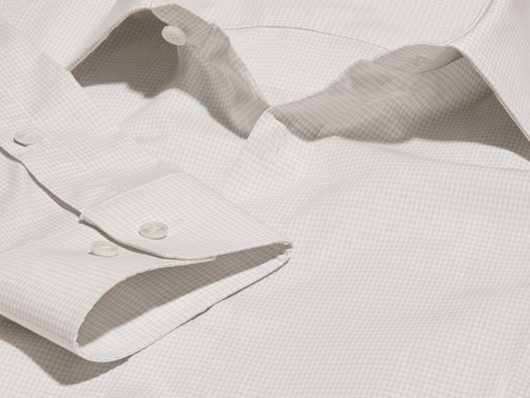 Citygrau Schmal geschnittenes Hemd aus Baumwollpopelin mit Vichy-Muster - cell image 1