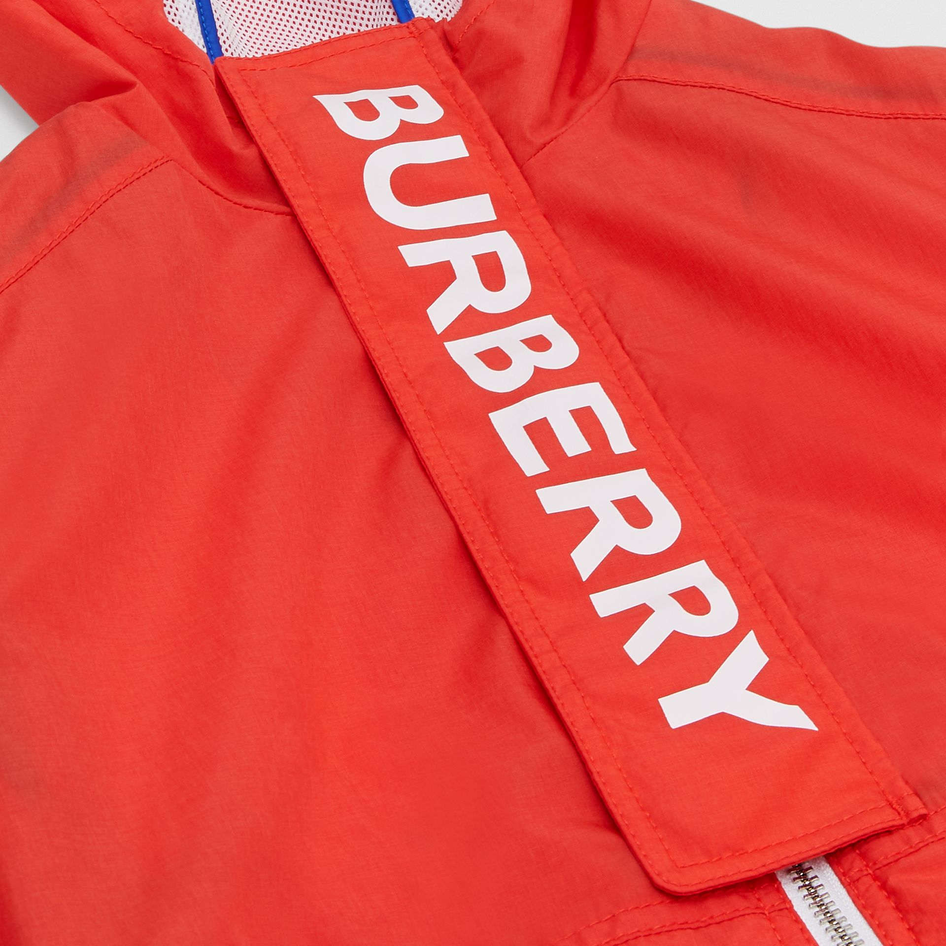 Logo Print Lightweight Hooded Jacket in Orange Red | Burberry Hong Kong - gallery image 1