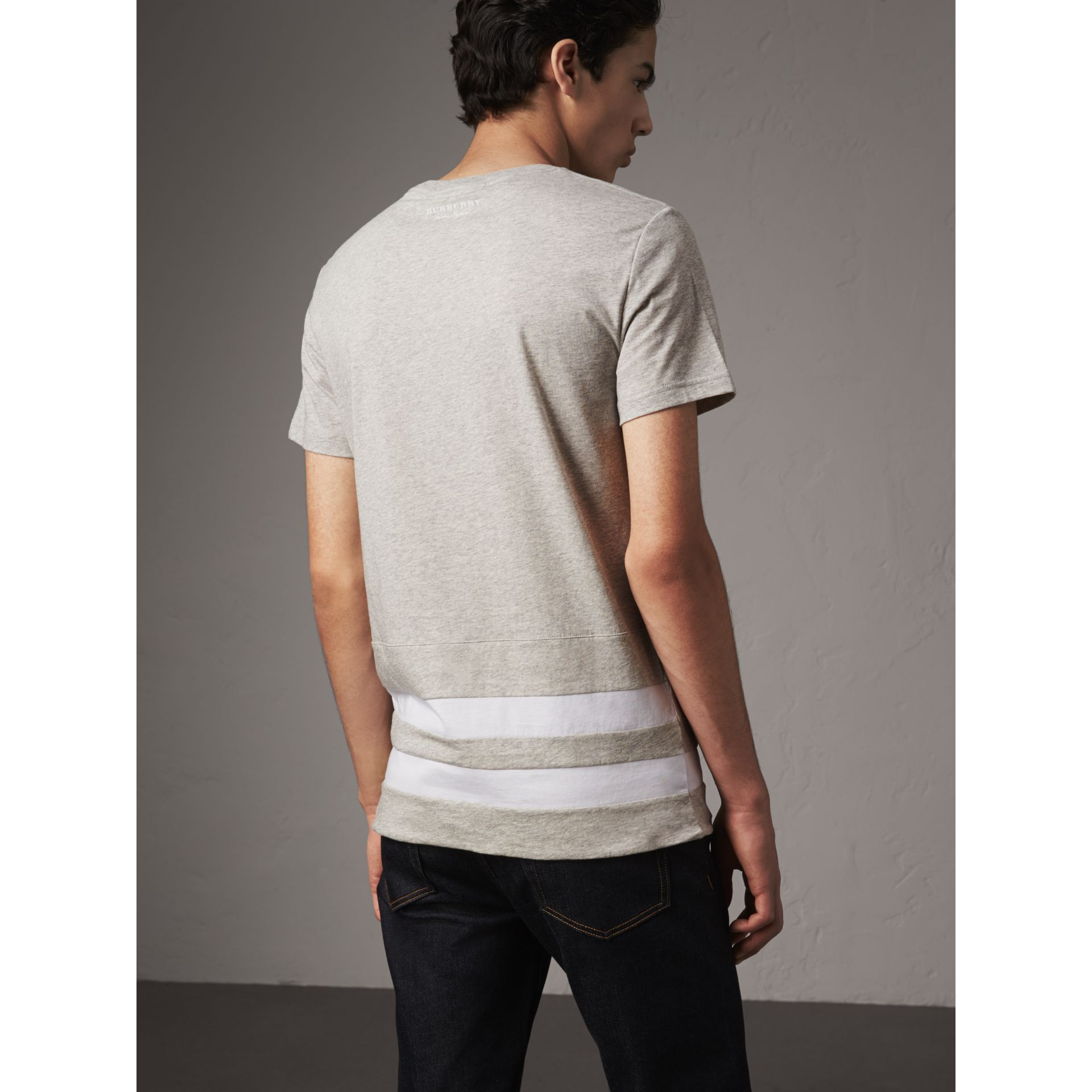 Striped Hem Cotton T-shirt in Pale Grey Melange - Men | Burberry - gallery image 3