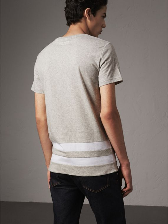 Striped Hem Cotton T-shirt in Pale Grey Melange - Men | Burberry - cell image 2