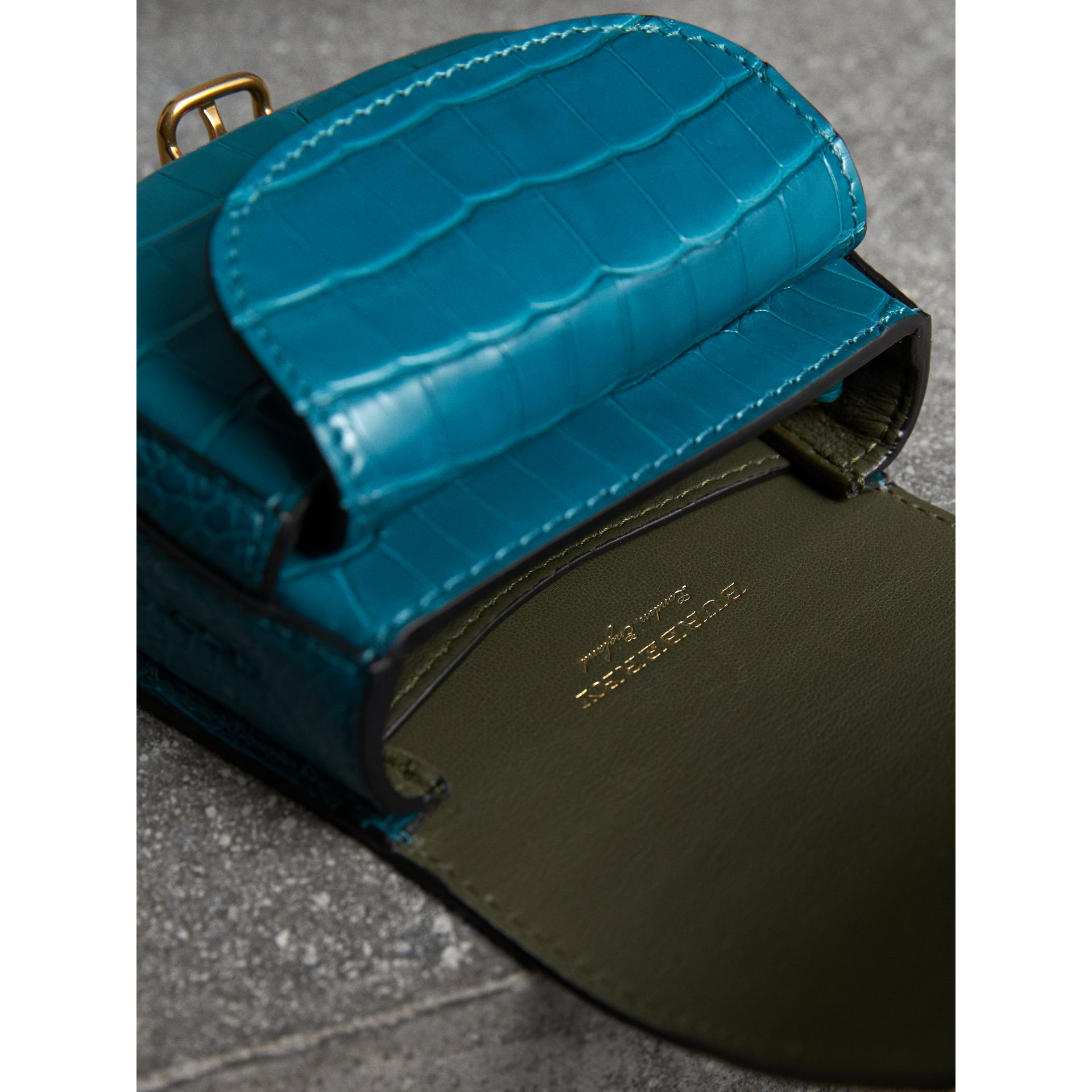 The Pocket Satchel in Alligator in Dark Teal - Women | Burberry - gallery image 5
