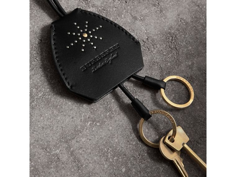 Riveted Leather Lanyard Key Charm in Black - Women | Burberry - cell image 1
